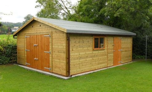 14ft wide x 20ft deep Warwick Buildings Workroom with a Standard Personal Door and Windows. Customer choices include an additional set of Barn Style Double Doors and the Self Build Option